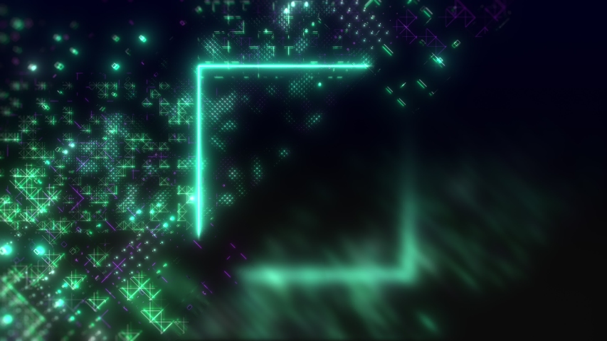Futuristic interface digital background. High tech loop animation. Neon hud elements in cyber style | Shutterstock HD Video #1052833406