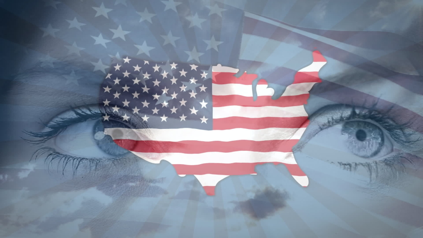 Animation of an U.S. map with an U.S. flag over Caucasian woman eyes and U.S. flag waving. United States of America presidential election democracy holiday concept digital composition