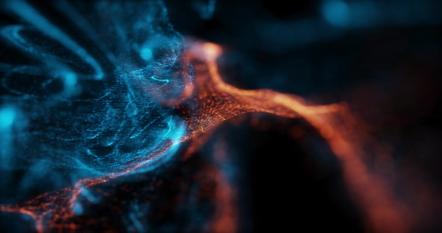 Abstract Macro slow motion shot of Blue and Orange Particle Fluid isolated on black. paint drops mixing in water. Ink swirling underwater. Colored cloud abstract smoke explosion animation. 3D render