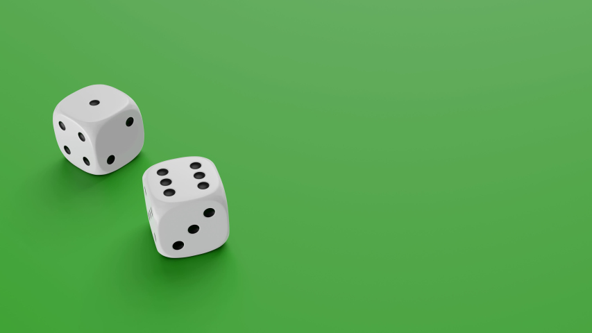 Two dices falling to green table. Gambling and casino concept. 3D rendering footage.