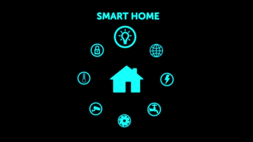Smart home concept animation, remote control, with the different options you can control: temperature, electricity, water, internet, security CCTV camera, lights. Blue neon icons on a black background Royalty-Free Stock Footage #1052836130