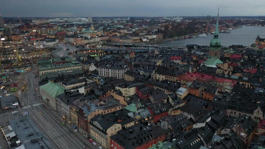 Stockholm / Sweden - 11 19 2019: Stockholm City Drone Footage