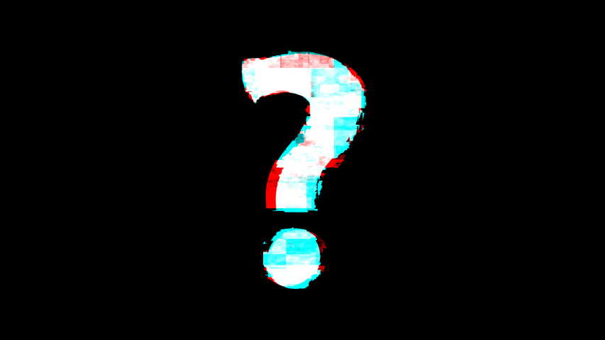 question mark symbol on glitch old screen display animation. Retro, colorful  video footage, 4K