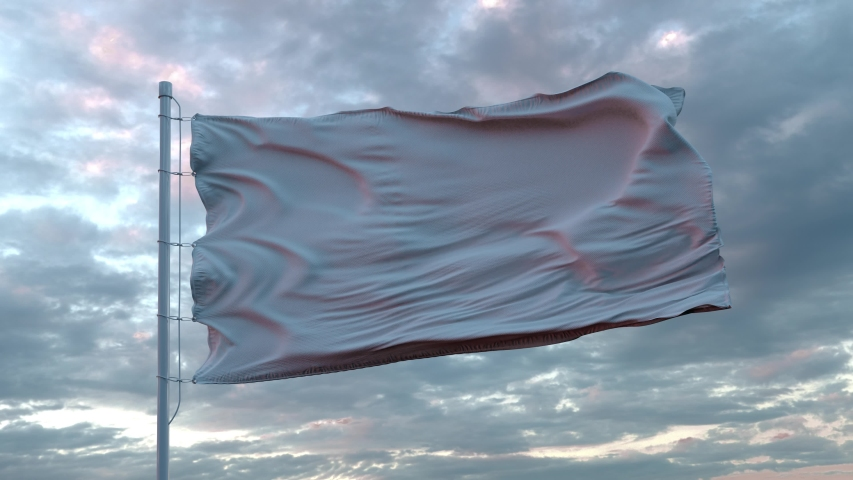Realistic White Flag waving in the wind against deep Dramatic Sky. 4K UHD 60 FPS Slow-Motion