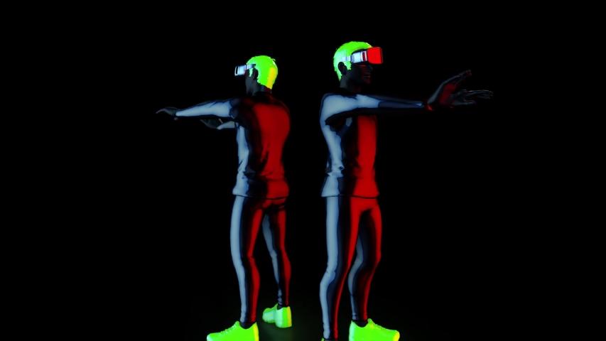 Twin dancer perform upper body robot, Hip-Hop Dancing in futuristic metallic neon costumes and VR 360 headset, 3D Rendering Animation. | Shutterstock HD Video #1052862089