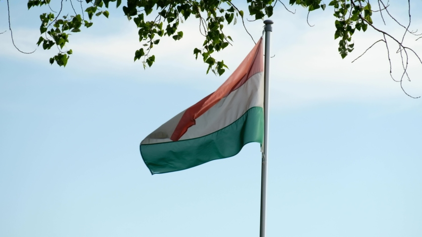 Waving hungarian flag in the wind.   Shutterstock HD Video #1052879228