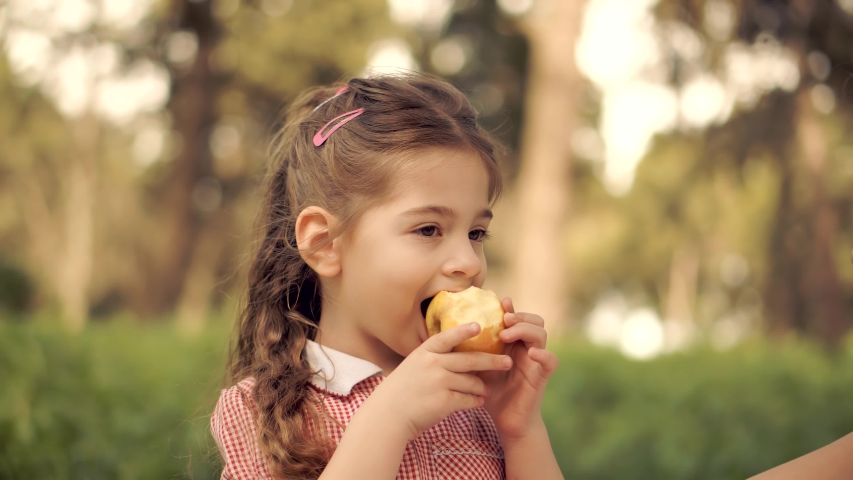 Happy Cute Preschool Girl Eat Fruit In Park.Daughter Kid Eats Healthy Organic And Vegan Food.Little Girl Eating Apple Outdoor.Pretty Child Face.Adorable Carefree Childhood Moment.Healthy Food Concept Royalty-Free Stock Footage #1052887415