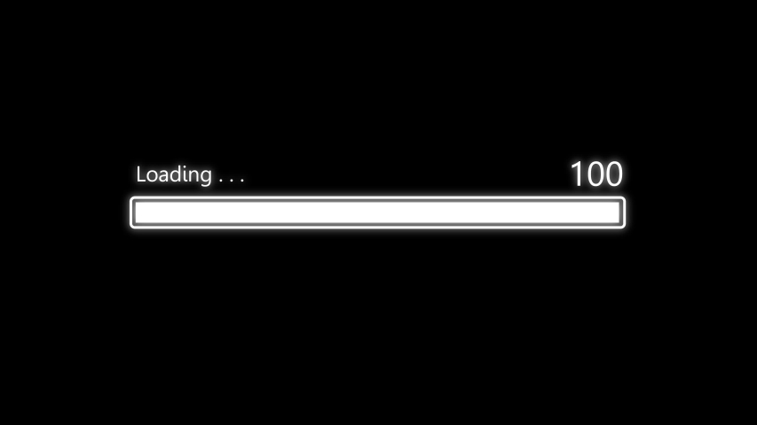 Loading bar downloading barloading screen pixelated progress animation Loading Transfer Download 0-100% in black background. Royalty-Free Stock Footage #1052893343
