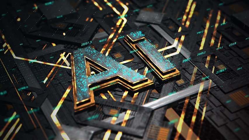 3D Render animation of AI Artificial intelligence in CPU chipset. Central processor unit and electric print circuit board with data traffic light on dark and grain processed | Shutterstock HD Video #1052896394
