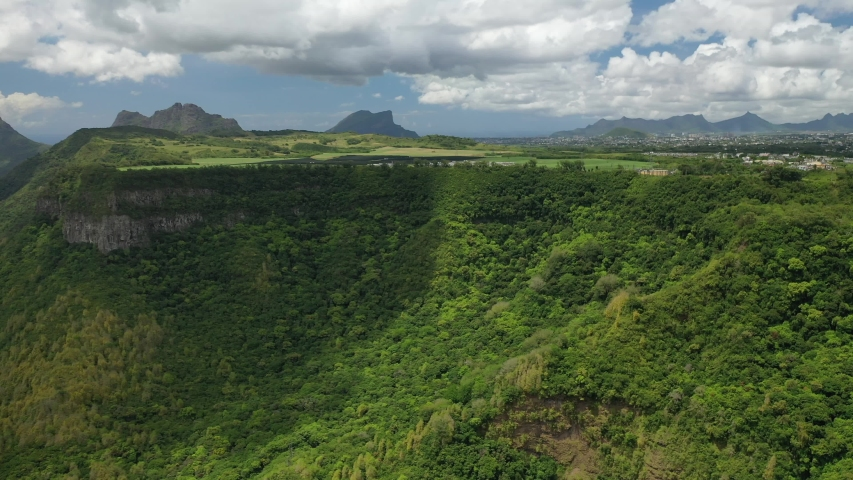 Top-down aerial view of the gorge-Mauritius near the river gorge National Park