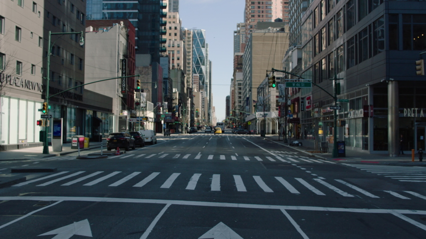Manhattan, NY / USA - April 2020: Driving Through Manhattan During the COVID-19 Pandemic, Empty Streets and No People