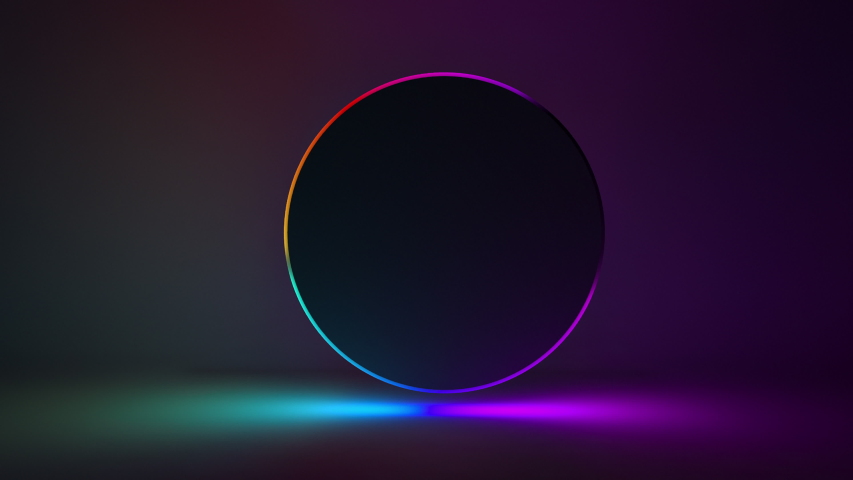 Abstract background with vibrant blue and purple spectrum 3d looped animation fluorescent ultraviolet light glowing neon colors. Abstract background with neon circle great for product presentation Royalty-Free Stock Footage #1052902649