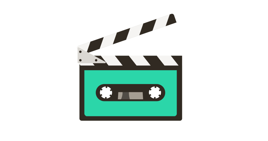 80s 90s music audio cassette tape and movie clapper. 4k cartoon animated logo icon isolated on white background in retro hipster style. For social media, online shows, video podcasts and translations