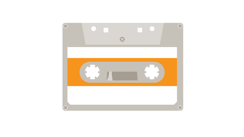 80s 90s music audio cassette tape 4k cartoon animated logo icon isolated on white background in trendy retro hipster flat style. For social media, online shows, video podcasts and translations.