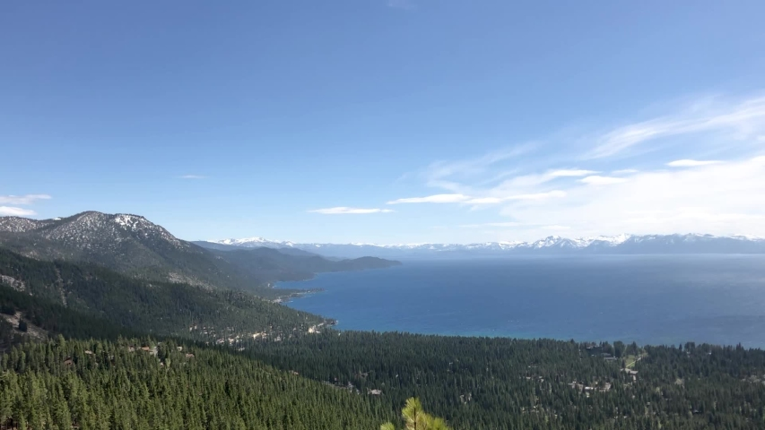 Gorgeous wide shot of Lake Tahoe on a clear afternoon.