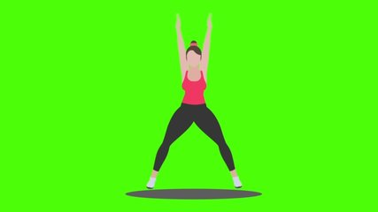 cardio workout - character 2D green screen video HD