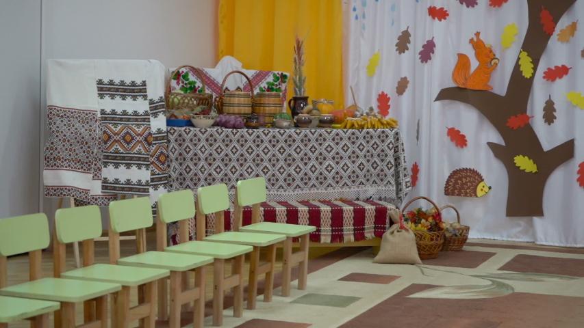 Empty kindergarten in autumn, kindergarten is closed for quarantine   Shutterstock HD Video #1052917958