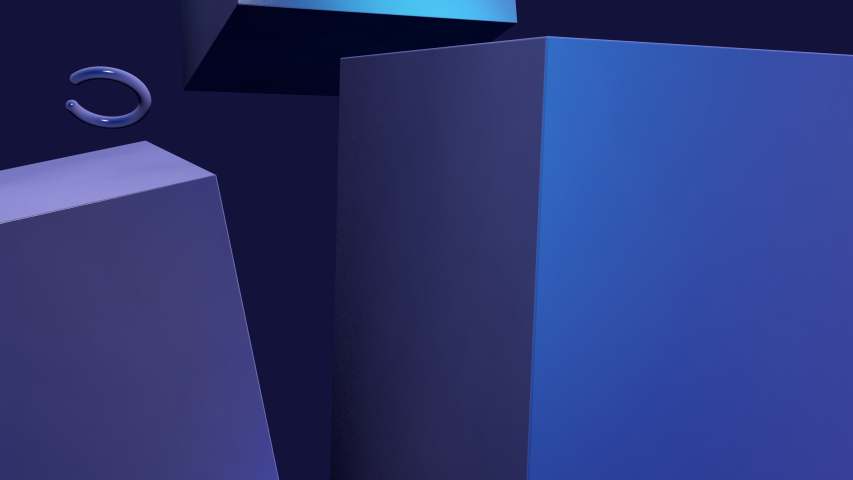 Abstract motion background with geometric objects rotating slowly in blue space