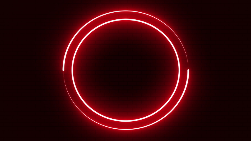 Neon circle color red seamless background red brick wall spectrum looped animation fluorescent ultraviolet light glowing neon lines Abstract background with neon box circle pattern LED  | Shutterstock HD Video #1052931797
