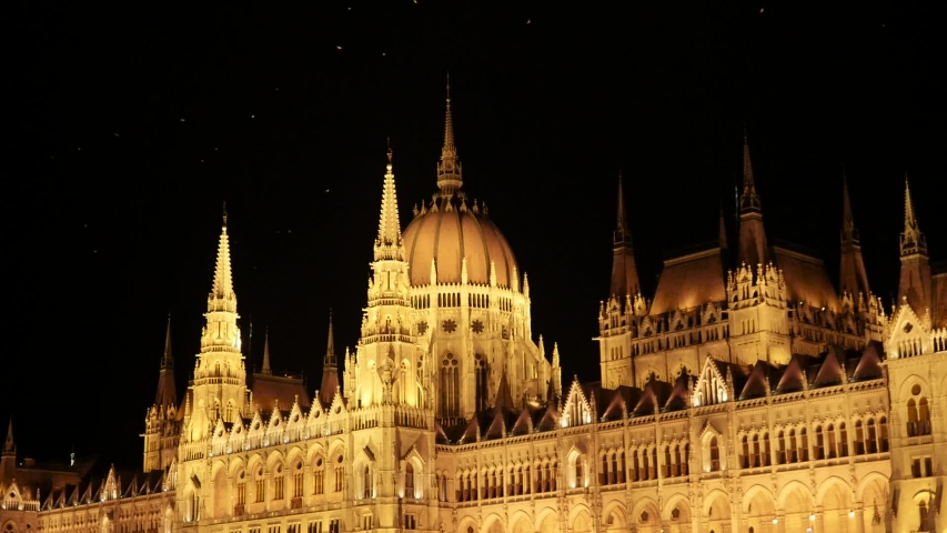 Budapest Hungarian Parliament and Night Time. | Shutterstock HD Video #1052937836