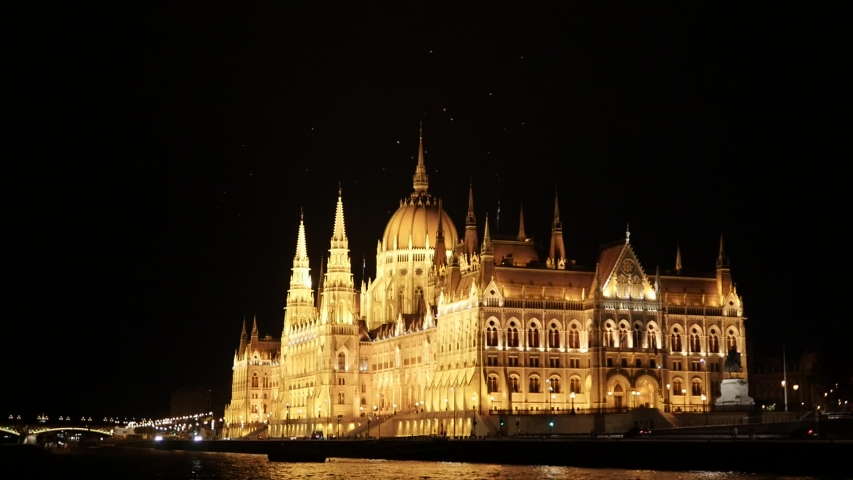 Budapest Hungarian Parliament and Night Time. | Shutterstock HD Video #1052937839