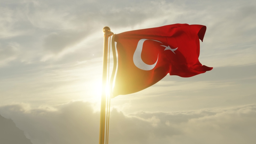 Flag of Turkey Waving in the wind, Sky and Sun Background, Slow Motion, Realistic Animation, 4K UHD 60 FPS Slow-Motion