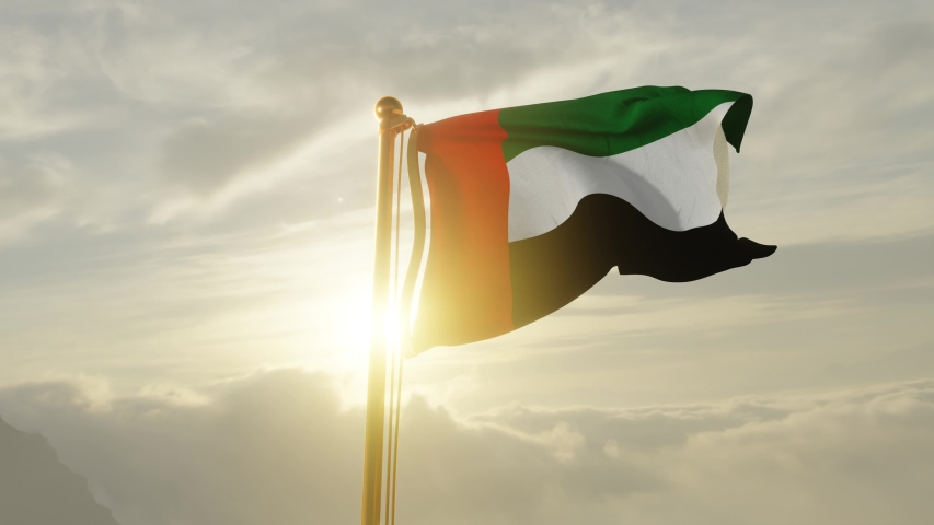 Flag of United Arab Emirates Waving in the wind, Sky and Sun Background, Slow Motion, Realistic Animation, 4K UHD 60 FPS Slow-Motion Royalty-Free Stock Footage #1052949926