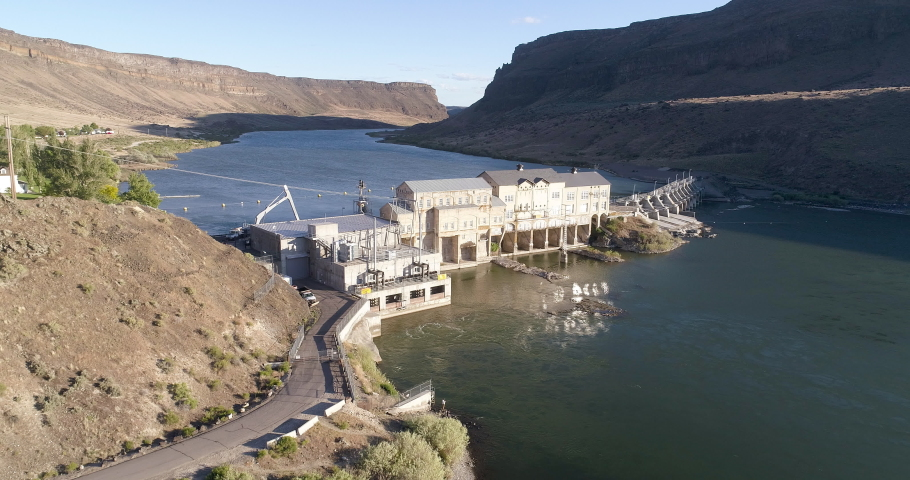 Looking down on the swan falls dam as it sits on the snake river