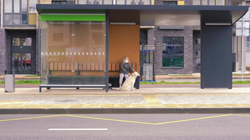 Coronavirus pandemic in the city. girl in a protective mask sits at a public transport stop with a dog | Shutterstock HD Video #1052955824