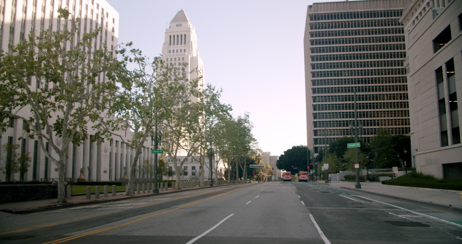 Empty Downtown LA Streets Inner City 4K 48FPS SLO-MO | Shutterstock HD Video #1052957915