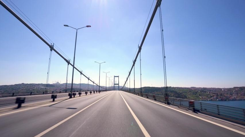 Bogazici Bridge from Istanbul Turkiye at Covid-19 Pandemic Curfew.