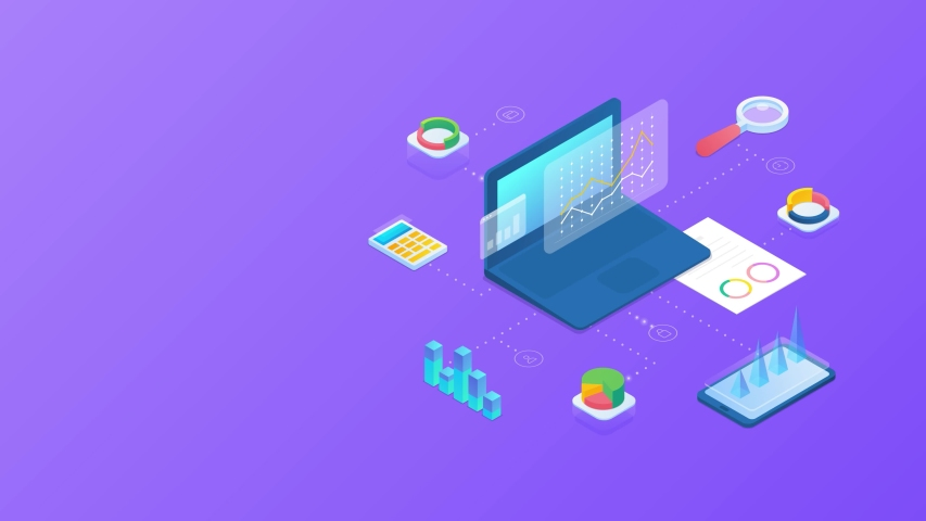Statistics Data Analysis Business Chart Information on Computer desktop and Mobile phone isometric design animated concept 4K video | Shutterstock HD Video #1052965388
