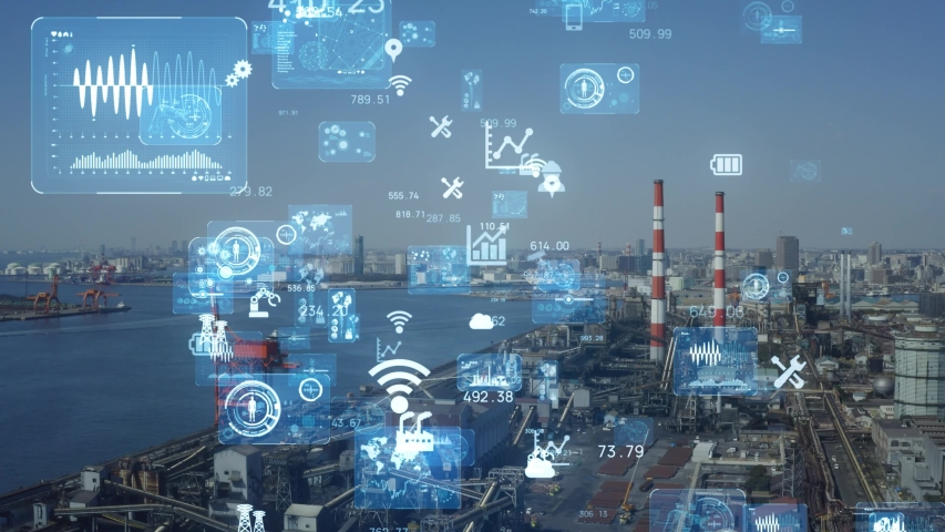 Industrial technology concept. Communication network. INDUSTRY 4.0. Factory automation. | Shutterstock HD Video #1052971853