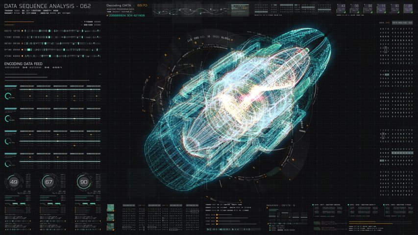 3D rendering, futuristic user interface head up display screen with Holographic electromagnetic machine with gravitational fields energy particles wave and digital data telemetry information | Shutterstock HD Video #1052976983