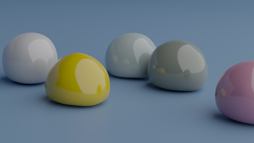 Bouncy balls fall. Morphing spheres movement. Soft body physics 3d render. Cheerful animation of elastic shapes bounce. Colorful fluid objects dropping on blue background.