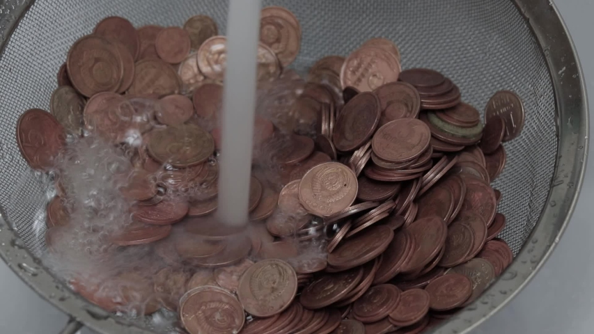 Wash money under the tap | Shutterstock HD Video #1052985038