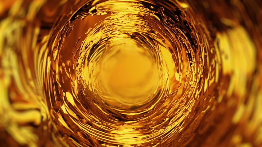 Super slow motion of pouring fuel oil. Oil waving and swirling, Super realestic 3d footage seamless loop. Golden liquid stream 3d animation. Spilling gold fluid, Beer or whiskey pouring, dynamic flow.