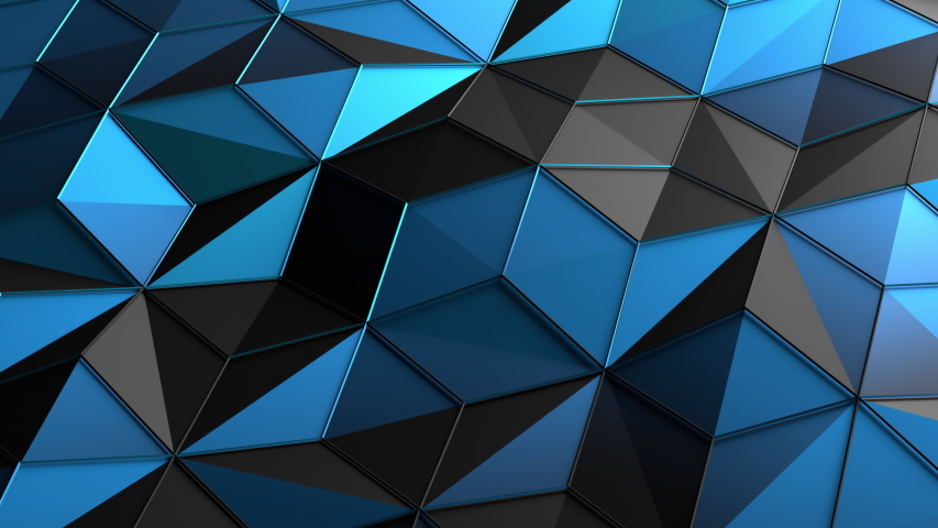 Abstract 3d render, motion background design, blue low poly surface, seamless looped 4k animation