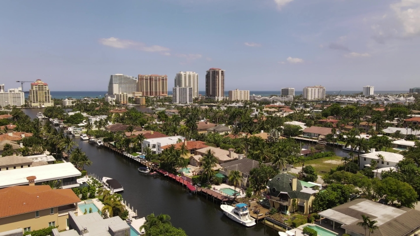 Isles with mansions Fort Lauderdale FL aerial footage 4k 60p | Shutterstock HD Video #1053003713