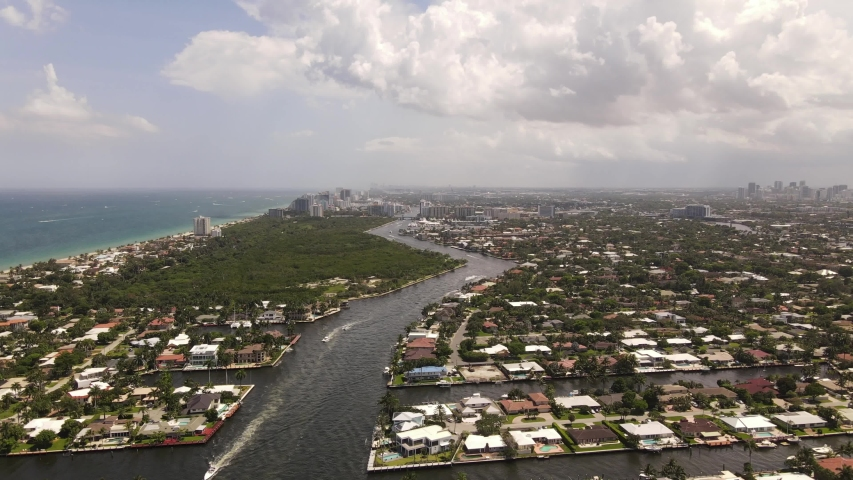 Aerial footage residential homes Fort Lauderdale FL USA 4k 60p