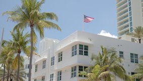 6k video buildings and palm trees with American Flag Miami Fort Lauderdale scene