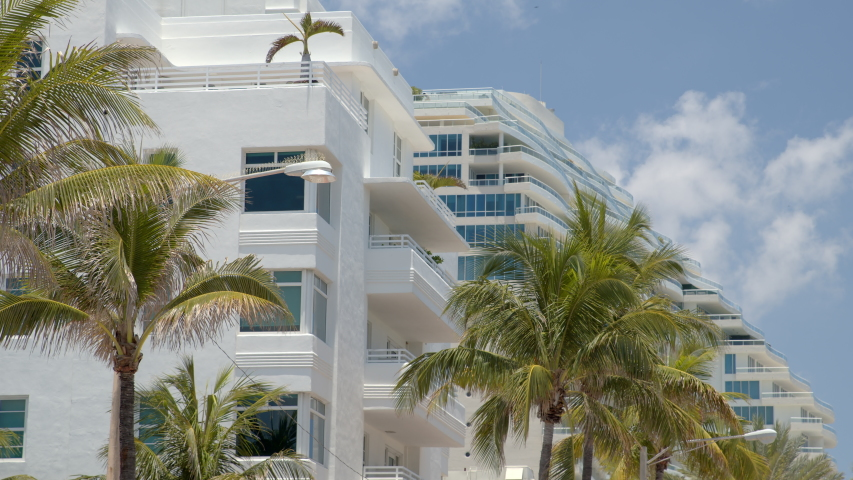 6k footage Fort Lauderdale palm trees and buildings