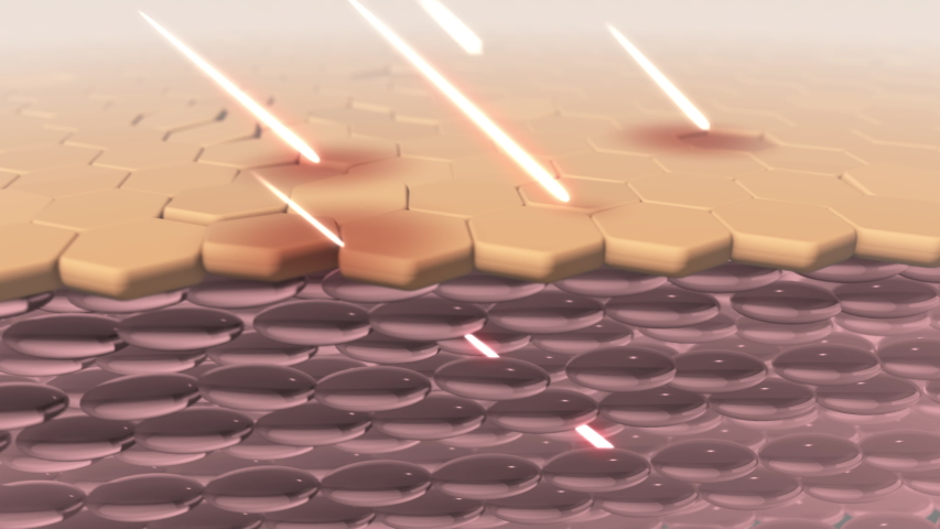 Skin damaged by uv rays. Skin absorbs light from sun. 3D animation | Shutterstock HD Video #1053009947