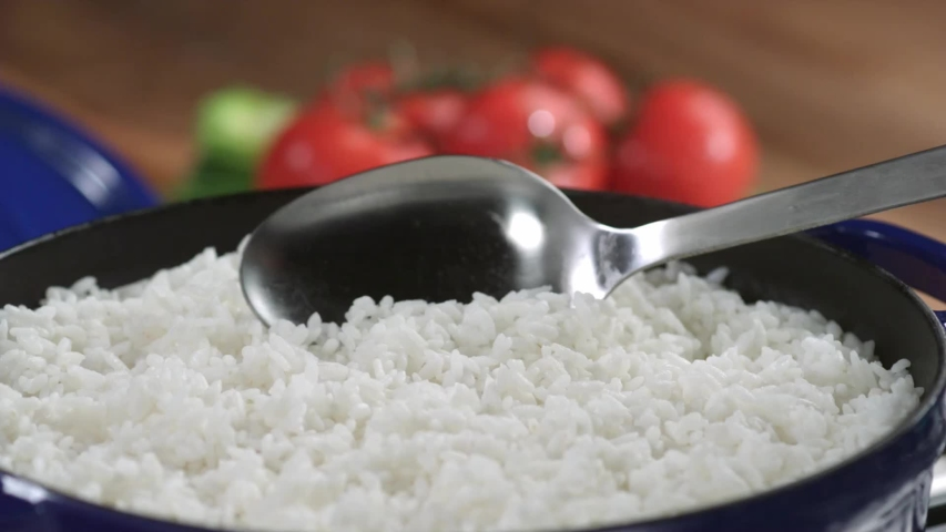 Traditional Turkish dish. Turkish style rice. Slow motion.( Turkish pilav)