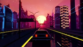 Retro-futuristic 80s style drive in neon city. Seamless loop of cyberpunk sunset landscape with a moving car on a highway road. VJ synthwave looping 3D animation for music video. 4K stylized vintage