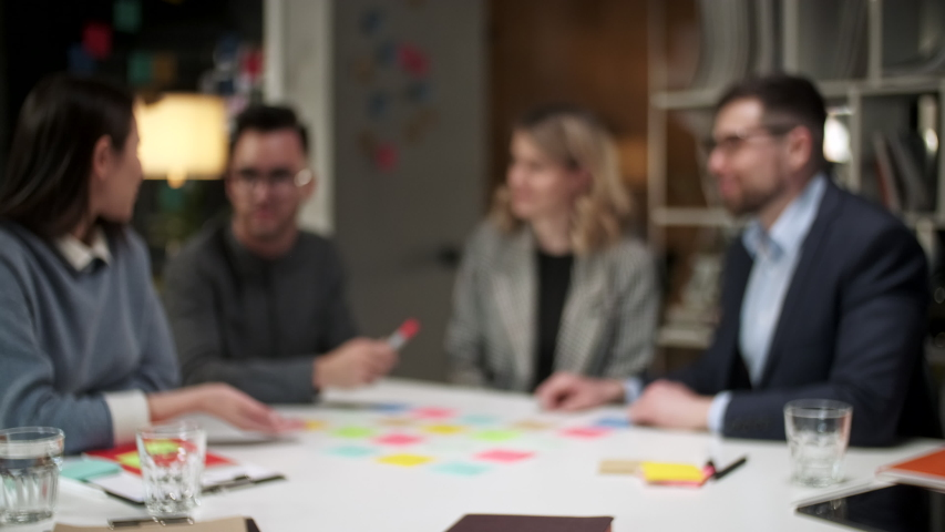 Successful Unite Happy Team People Stack Hands On Table Together Promising Support Trust In Partnership, Help In Collaboration, Professional Leadership Concept Royalty-Free Stock Footage #1053015026