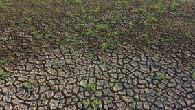 Aerial view Footage B roll of Climate change concept. Aerial fly drone over view dry lake and climate change. The drought of the river caused by global warming. Footage B roll scene 4k.