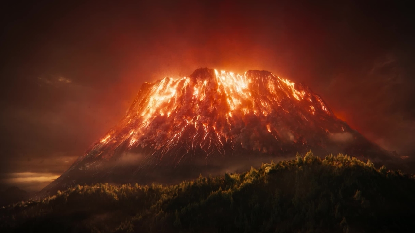 Closeup of amazing volcanic eruption and explosion shock waves, air pollution