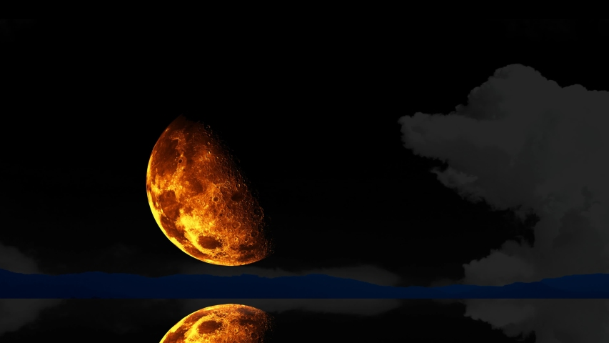 Half moon rise back cloud on the dark sky over water surface of lake | Shutterstock HD Video #1053023492