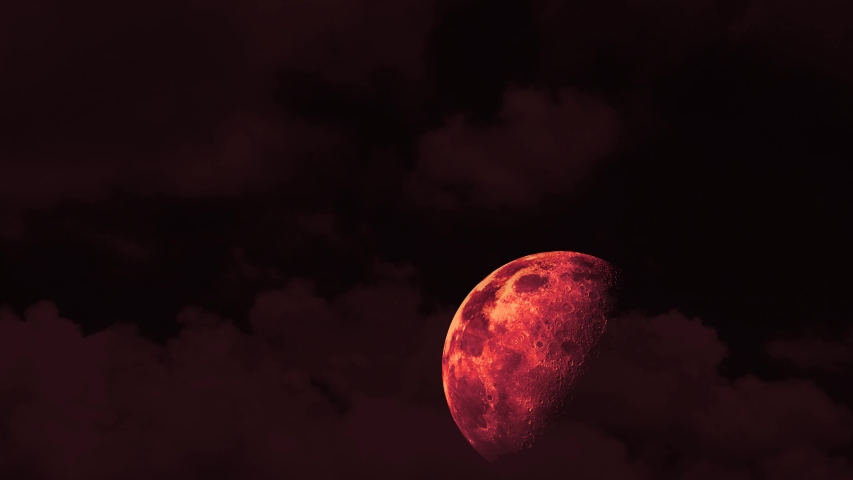 Half red blood moon rise on the night sky and red cloud moving pass | Shutterstock HD Video #1053023495